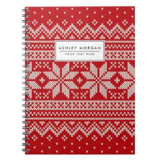 Weihnachtsstrickjacke-strickendes Muster - ROT Spiral Notizblock