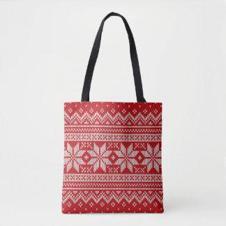 Weihnachtsstrickjacke-strickendes Muster - ROT Tasche