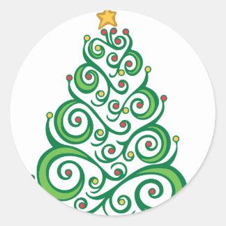 Weihnachtsstrudel-Baum Runder Aufkleber