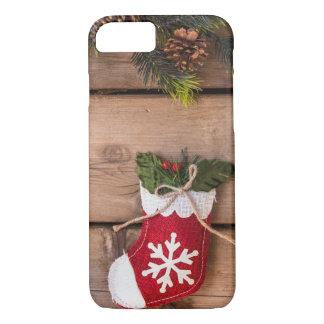 WeihnachtsStrumpf-frohe Weihnacht-hölzerne iPhone 8/7 Hülle