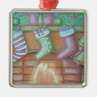 WeihnachtsStrumpf Quadratisches Silberfarbenes Ornament