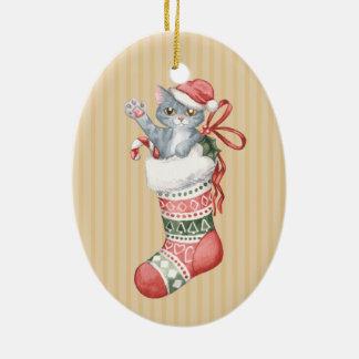 WeihnachtsStrumpf-Reihe: Graues Kätzchen Keramik Ornament