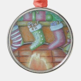 WeihnachtsStrumpf Rundes Silberfarbenes Ornament