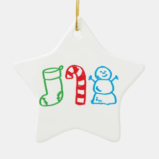 WeihnachtsStrumpf-Zuckerstange und Snowman Keramik Ornament