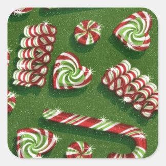 Weihnachtssüßigkeiten Quadratischer Aufkleber