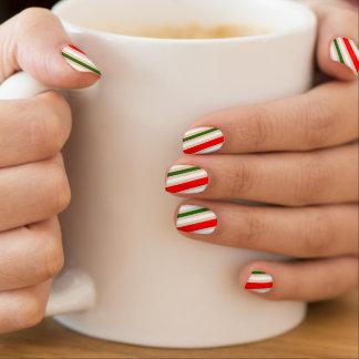 Weihnachtssüßigkeits-Streifen-Nagel-Verpackungen, Minx Nagelkunst