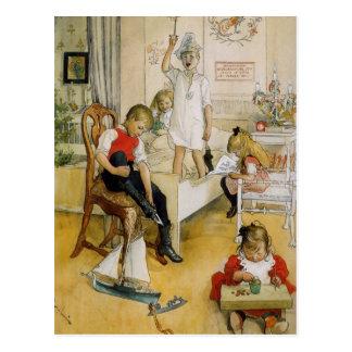 Weihnachtstag im Kinderzimmer Postkarte