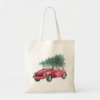 WeihnachtsTasche mit Vintagem rotem Auto und Baum Budget Stoffbeutel