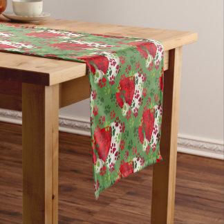 Weihnachtstatzen-Drucke mit Weihnachtsmannmütze Kurzer Tischläufer