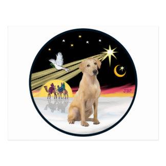 Weihnachtstaube (R) - gelber Labrador (f) Postkarte