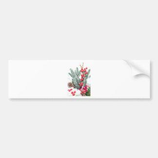 Weihnachtsteller mit Beerenpilzdekoration Autoaufkleber