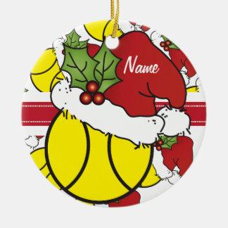 WeihnachtsTennisball   personifizieren Rundes Keramik Ornament