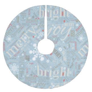 Weihnachtstext-und -schneeflocke-Muster blaues Polyester Weihnachtsbaumdecke