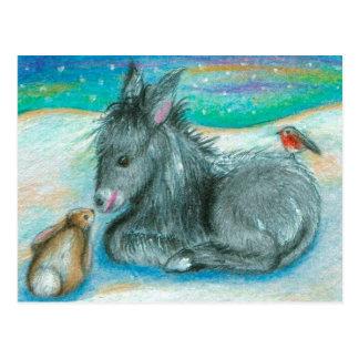 Weihnachtstrio im Schnee Postkarte