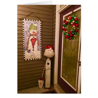 Weihnachtstür mit Weihnachtsmann- und Kranz-Karte Karte