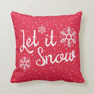 Weihnachtstypographie ließ es schneien Zitat-Rot Kissen