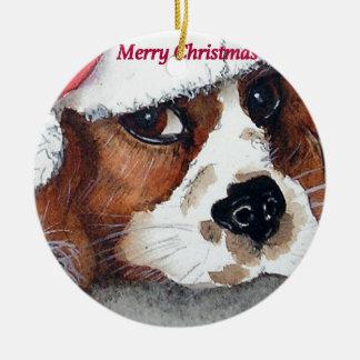 Weihnachtsunbekümmerter Königcharles Spaniel Rundes Keramik Ornament