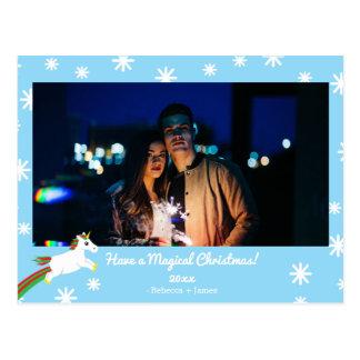 Weihnachtsunicorn-Foto-Rahmen-Feiertags-Postkarte Postkarte