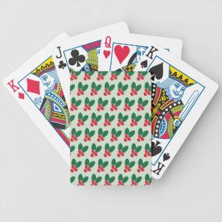 Weihnachtsverlässt rotes Beeren-Grün Muster Bicycle Spielkarten