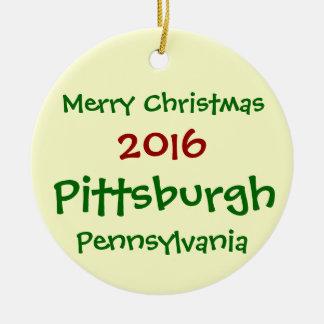 WEIHNACHTSverzierung 2016 PITTSBURGHS PENNSYLVANIA Keramik Ornament