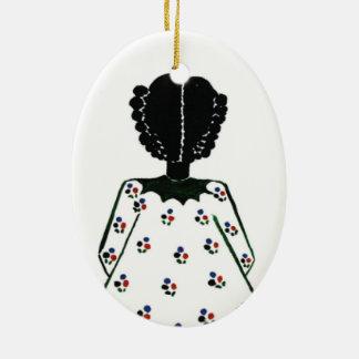 Weihnachtsverzierung durch Rosen-Hügel Ovales Keramik Ornament