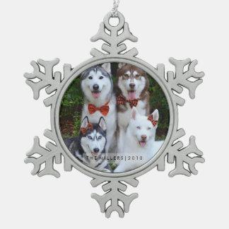 Weihnachtsverzierung - Familien-Jahr Schneeflocken Zinn-Ornament
