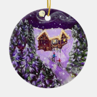 Weihnachtsverzierung - Laternen-Ski Keramik Ornament