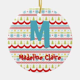 Weihnachtsverzierung mit Ihrer Initiale und Namen Keramik Ornament