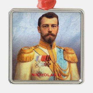 Weihnachtsverzierung Zar-Nicholas II Quadratisches Silberfarbenes Ornament