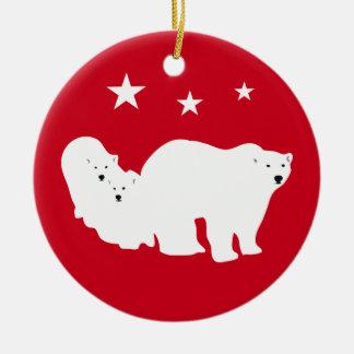 Weihnachtsverzierungs-Eisbären rot Keramik Ornament