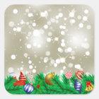 Weihnachtsverzierungs-Glitzer Quadratischer Aufkleber