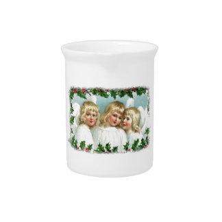 WeihnachtsVintage Engel und -stechpalme Getränke Pitcher