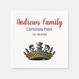 WeihnachtsVintage Krone mit Schach-Stück-Farbe Papierserviette