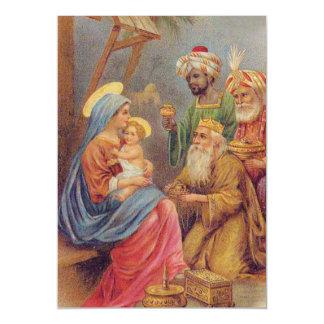 WeihnachtsVintage Nativity-Jesus-Illustration Magnetische Karte