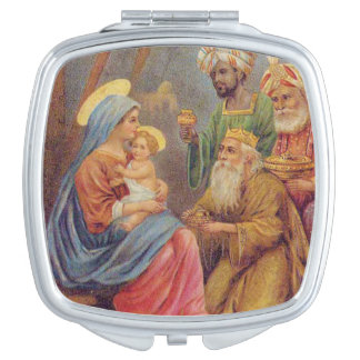 WeihnachtsVintage Nativity-Jesus-Illustration Taschenspiegel