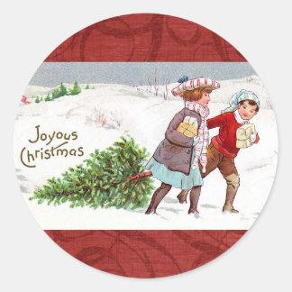 WeihnachtsVintage viktorianische Kinderaufkleber Runder Aufkleber