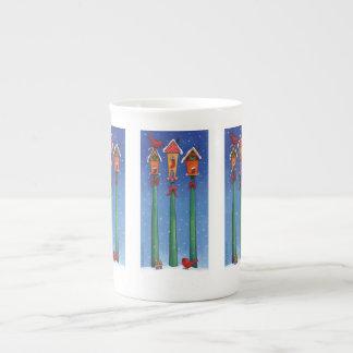 Weihnachtsvogel-Haus-Tasse Porzellantasse