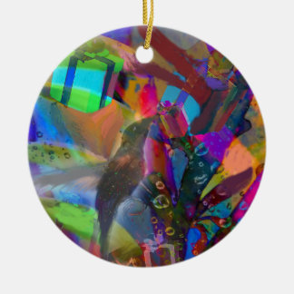 Weihnachtsvogel holt Geschenke Rundes Keramik Ornament