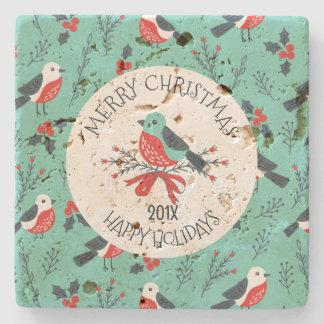 Weihnachtsvogel-Muster-kundengerechte Schablone Steinuntersetzer