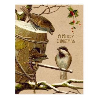 Weihnachtsvogel-Spatzbirdhouse-Stechpalme Postkarte