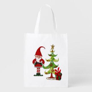 Weihnachtsvolkswhimsey-Einkaufen Wiederverwendbare Einkaufstaschen