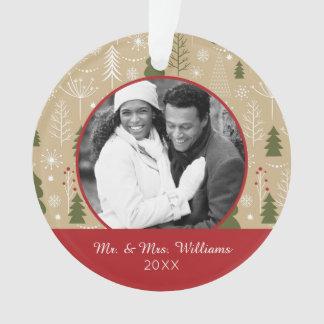 Weihnachtswaldmuster des Feiertags-Foto-| Ornament