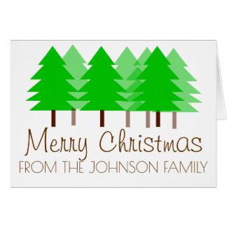 Weihnachtswaldpersonalisierte Grußkarte