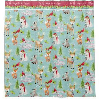 Weihnachtswaldtierefox-Rotwild-Waschbär-Bär Duschvorhang