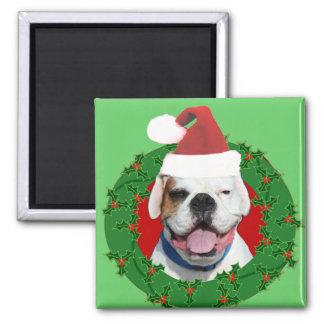 Weihnachtsweiß-Boxer Quadratischer Magnet