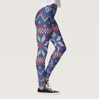 Weihnachtsweiß-, Rotes u. Blauesstrickendes Muster Leggings