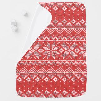 Weihnachtsweiße u. rote Schneeflocke-strickendes Puckdecke