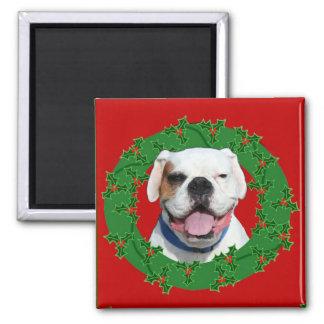 Weihnachtsweißer Boxermagnet Quadratischer Magnet