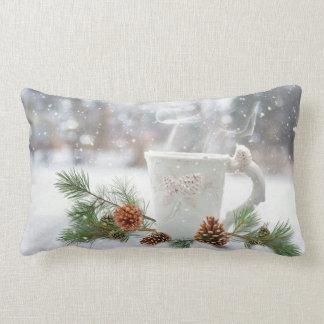Weihnachtsweißer Waldheißes Kakao-Schneekissen Lendenkissen