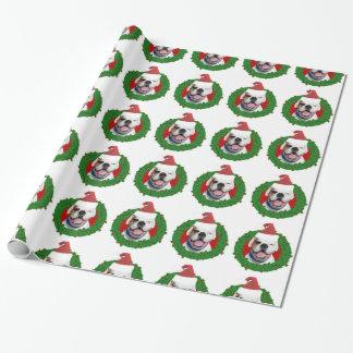 Weihnachtsweißes Boxer-HundePackpapier Geschenkpapier